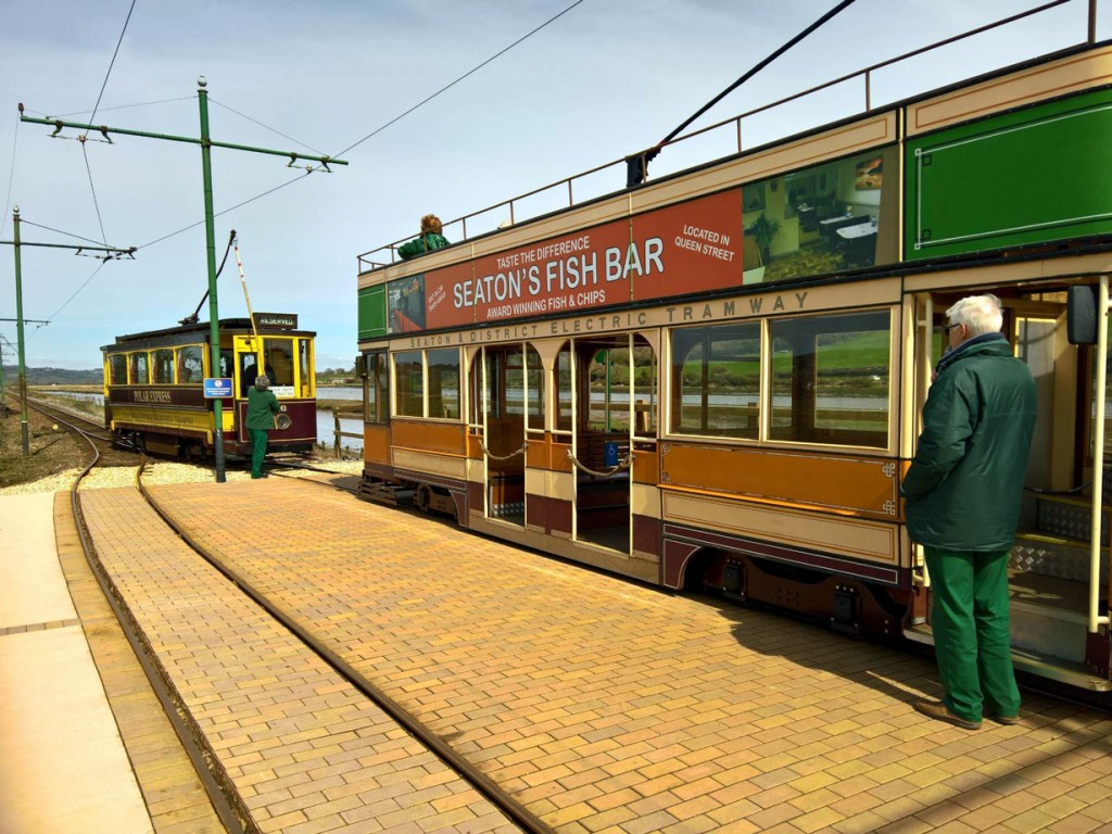 As 10 waits to depart with the service car, 16 turns its trolley on driver training.
