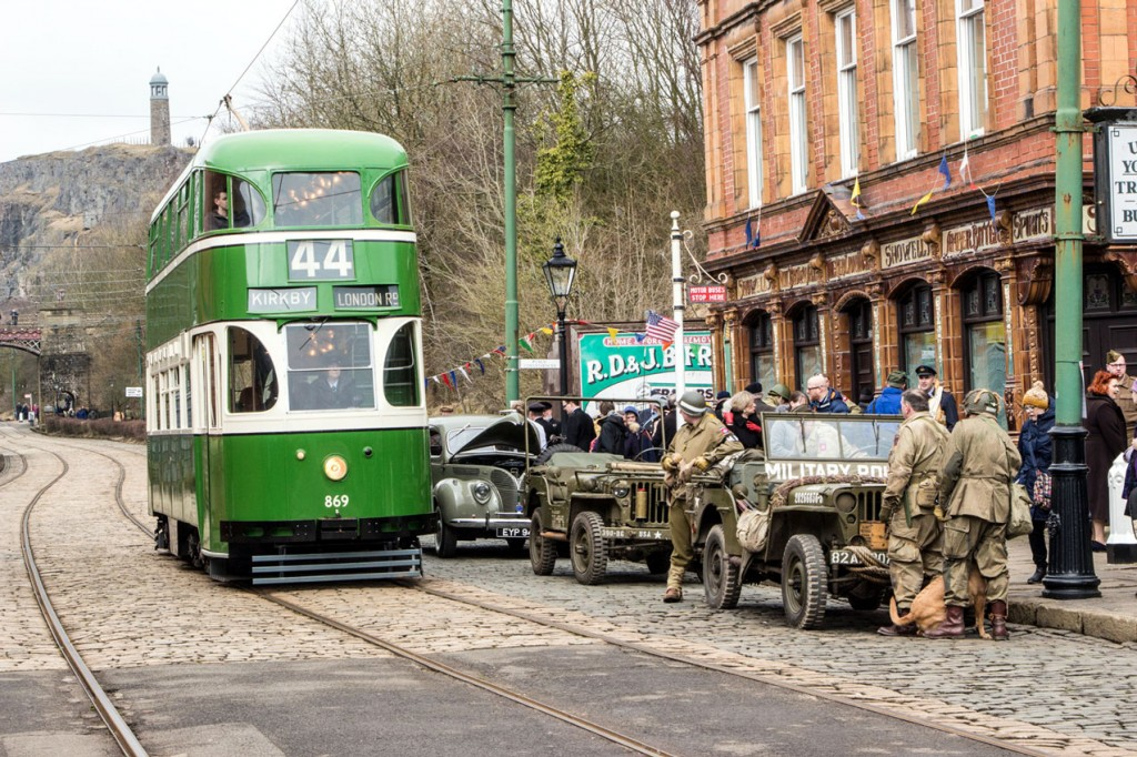 Liverpool 869 also made its year debut and is seen here passing military vehicles and re-enactors.