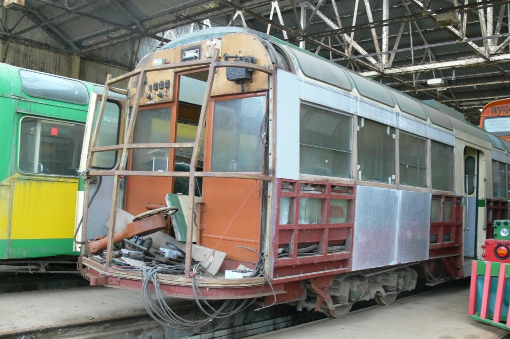 It may look a mess, but this image of 279 shows some of the work already carried out to return it to its original shape having spent the latter part of its working life as a towing car with flat ends. (Photo by Andrew Waddington, with permission from the Blackpool Heritage Trust & Blackpool Transport Services Ltd.)