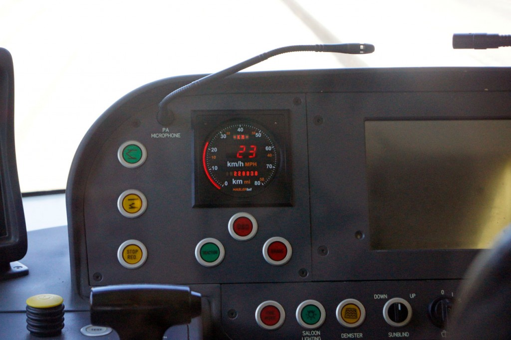 A look at the driver's control panel showing the two buttons on the left which control the raising and lowering of the pantograph. (All Photographs by Andy Walters)