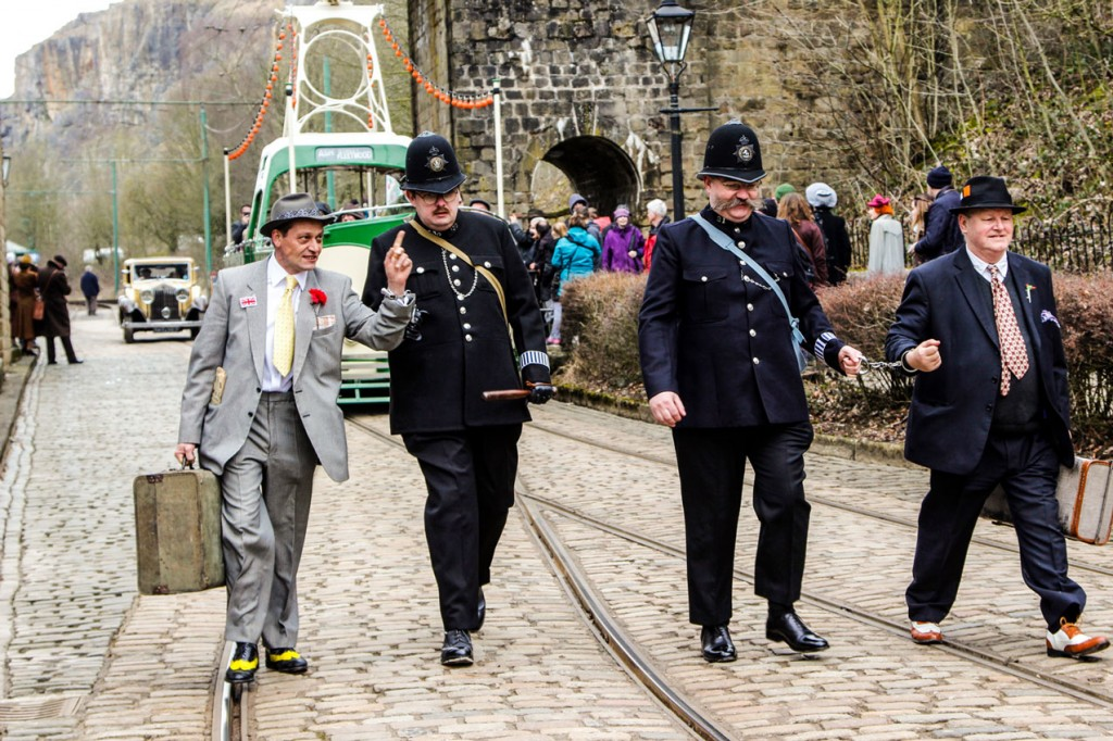 Any misdemeanours were quickly dealt with by the local bobbies! 236 once again provides the backdrop. (All Photographs by Crich Tramway Village)
