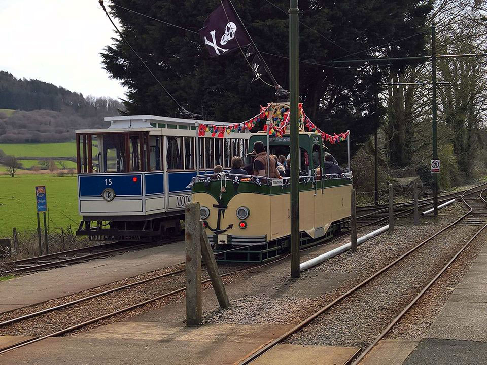 The Seaton Pearl decorated for its use on the pirate specials heads back to Seaton through Colyford with 15 having shunted out of the way into the siding. (All Photographs by Mike Poole)