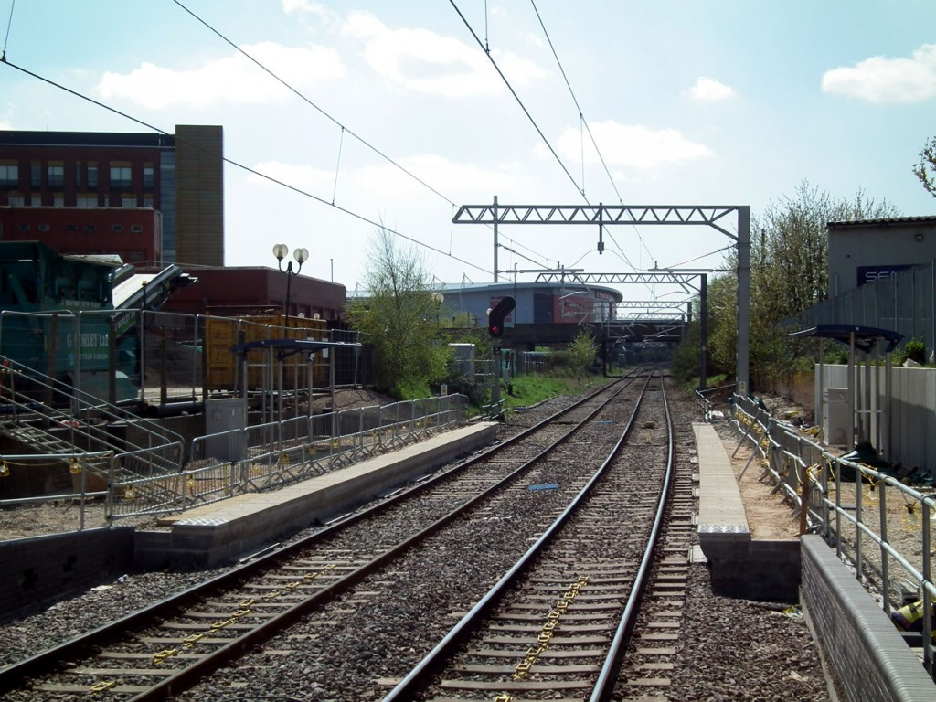 Work is also still continuing at Rotherham Central on construction of the platforms. This is a view from the station's main platform 2 showing that despite the installation of a shelter there is till much work to be done.