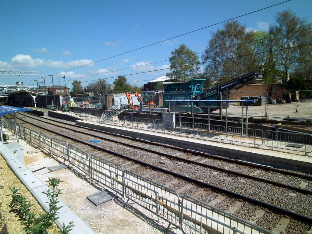Looking across the tracks with the outbound platform in lower foreground and the mainline railway station in the left background. (Photographs x5 by Mike Haddon)
