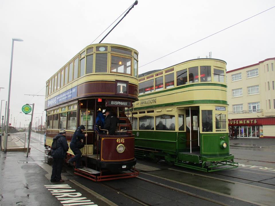 The two oldest operational double-deck trams currently in Blackpool, Bolton 66 and Standard 147, meet at Bispham on a very wet Easter Monday. (All photos by Rob Bray)