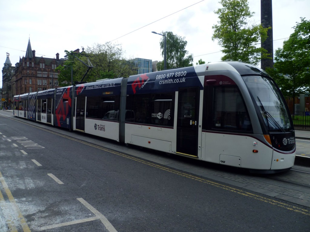 The full advert on the tram at St Andrew Square on 21st May.