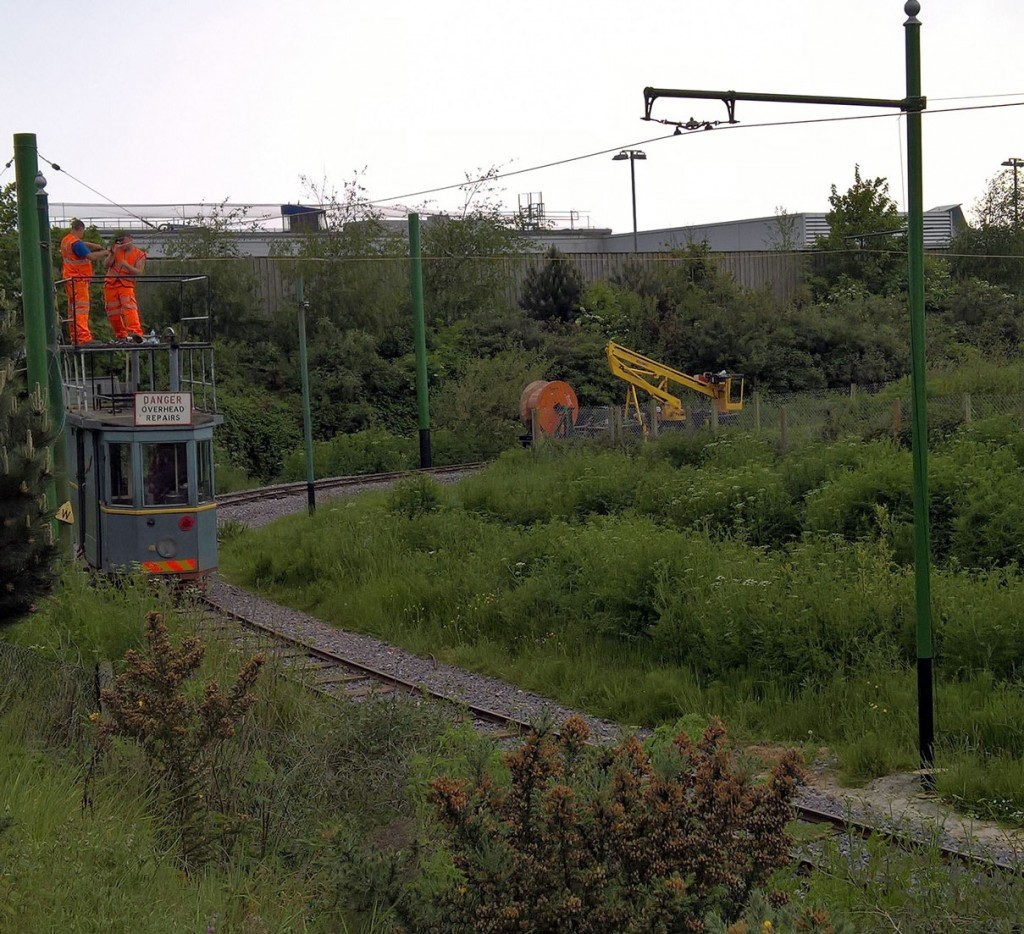 Work was also underway on 21st May on connecting the overhead.