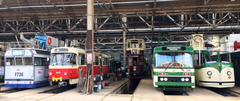 A first look at 902 in the heritage depot at Blackpool, surrounded by its new friends! (Photo courtesy of Blackpool Heritage Tram Tours)