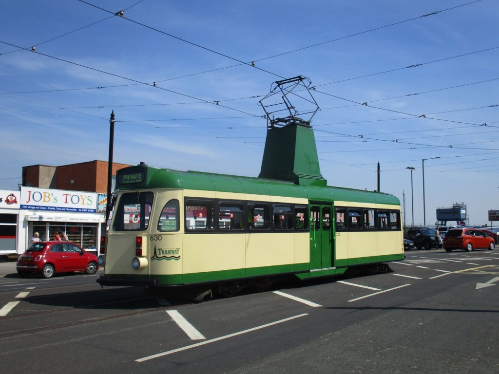 Star of the day, Brush car 630 poses on the passing loop at Fleetwood Ferry on its last visit (for now?) to the tramway's northern terminus.