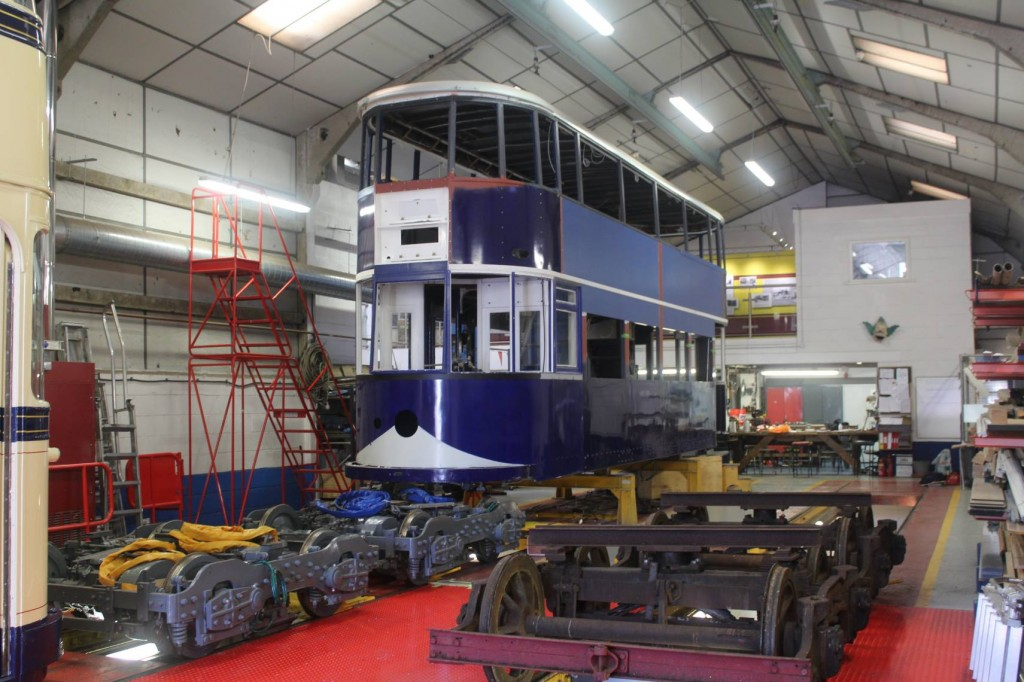 What a beauty! LCC 1 sits in the workshop behind its refurbished bogies, showing the latest progress on this outstanding restoration job.