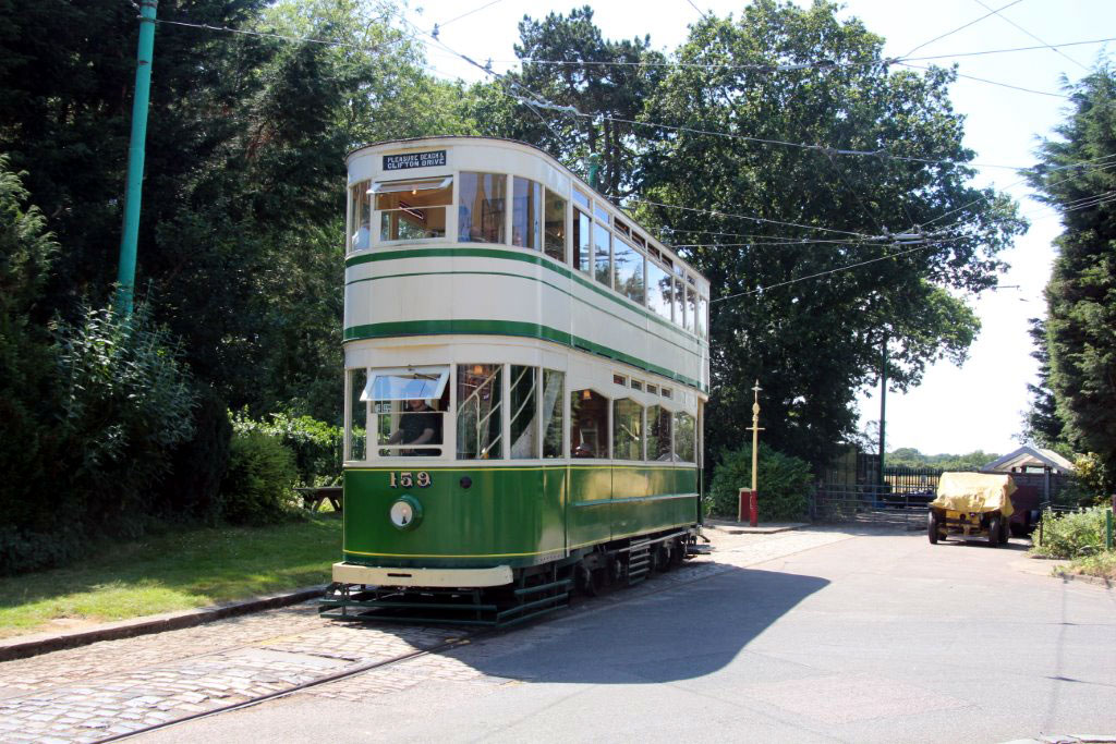 Blackpool Standard 159 is seen here just leaving the Woodland track. Beyond the tram and gate can be seen the new land acquired by the museum for the major expansion which will see a new tram line amongst other developments.