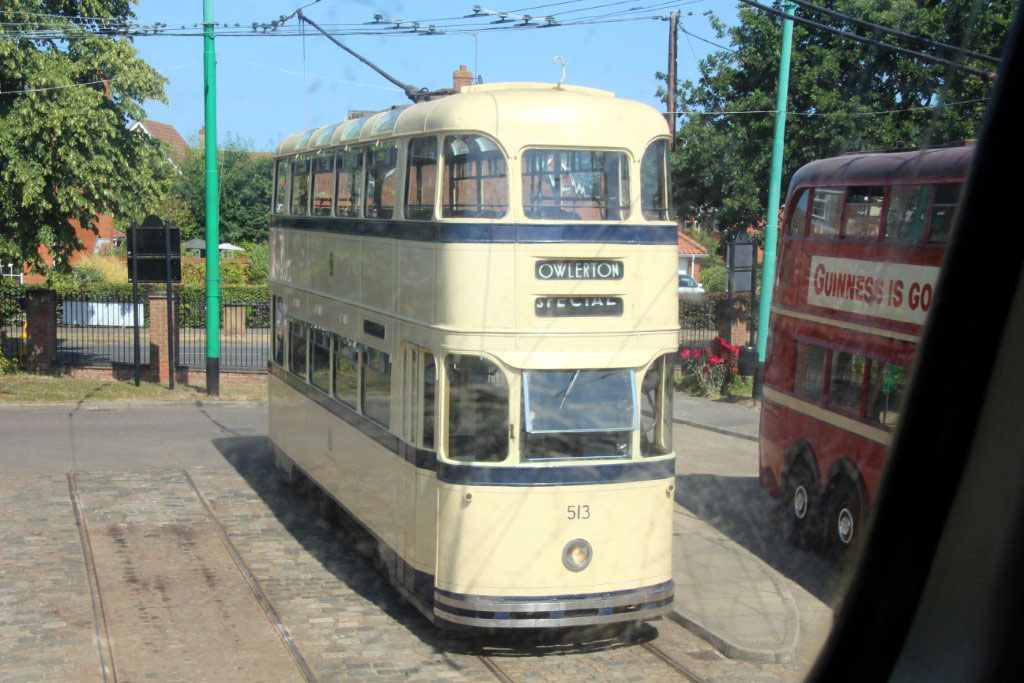With a London trolleybus alongside Sheffield 513 waits at the Chapel Lane terminus.