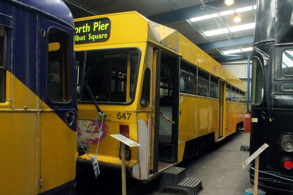 The last standard gauge traditional tram to be built for the UK is one of the exhibits at NELSAM – Blackpool Centenary 647. The advertising vinyls of its last advert for B&M Bargains have been removed leaving the tram in its yellow base coat.