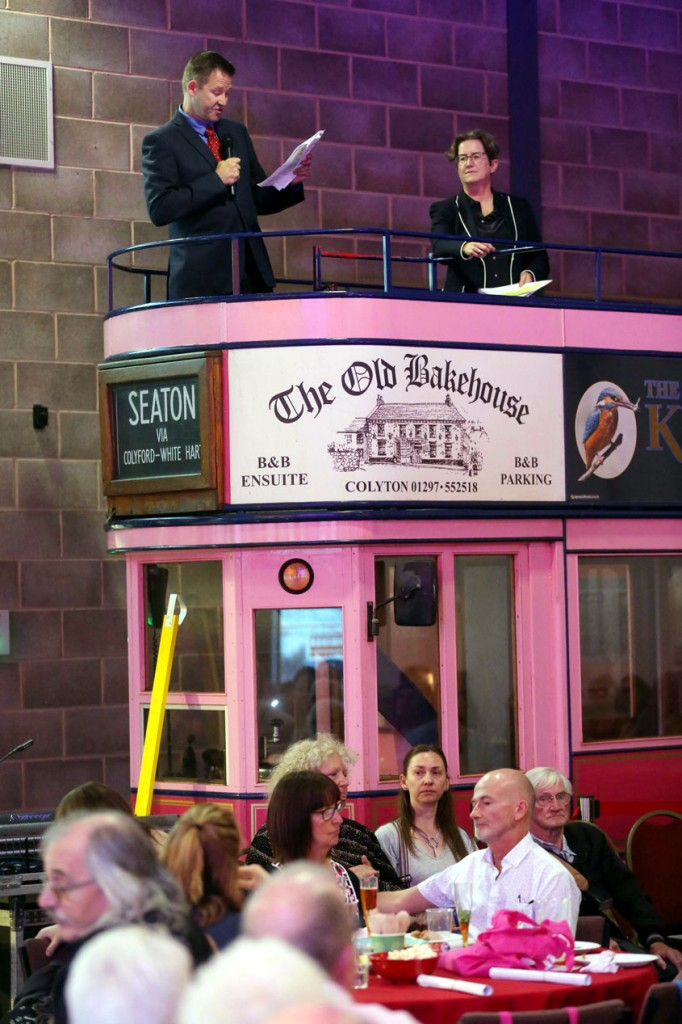 Bruce Warnes and Jenny Nunn on the top deck of 11 give speeches at the opening.