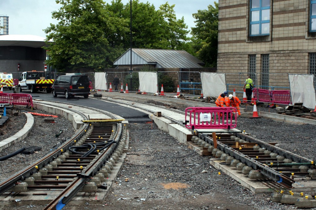 Track is seen being laid on Piper's Row.