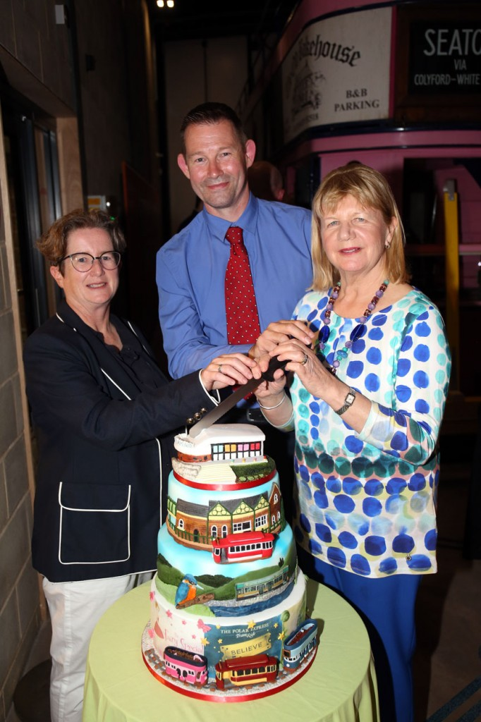 Look at that cake! With trams 11, 16, 9 and 14 all in glorious icing and the new terminus on top Jenny Nunn, Bruce Warnes and Lyn Shears cut the cake. (Both Photographs courtesy of Seaton Tramway)