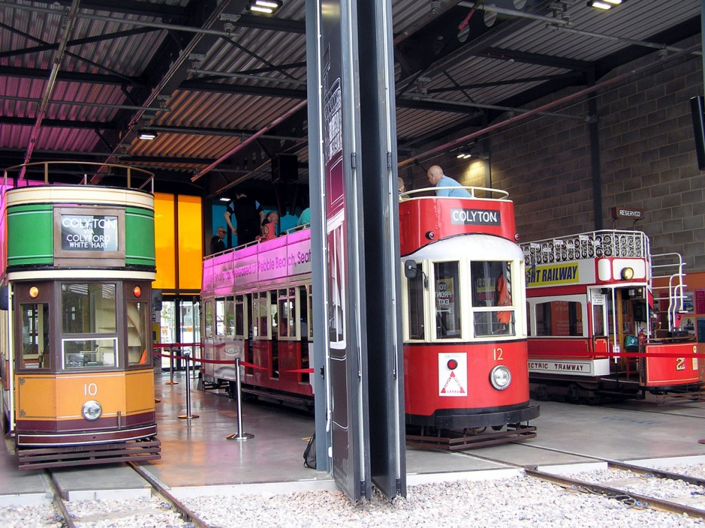 A look in the new Seaton terminus with passengers on board 12 in the centre with this tram flanked by 10 and 2.