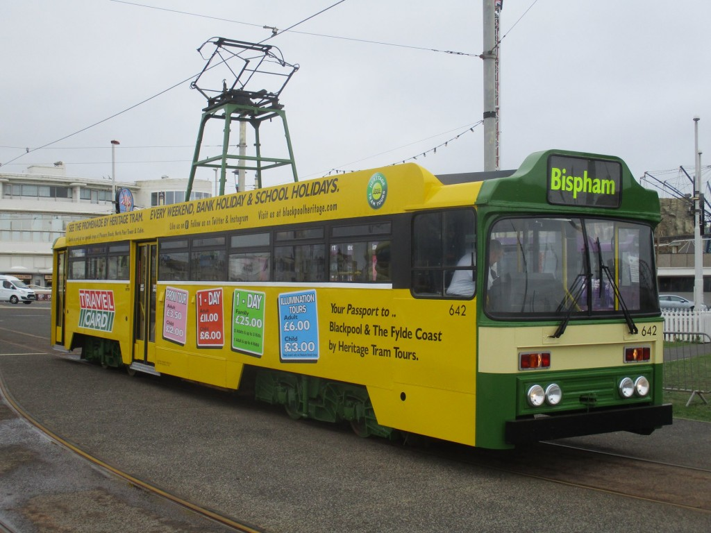 642 is seen at Pleasure Beach showing off its unusual advert/fleet livery on 19th August shortly before departing with its first passenger journey since 2016. (Photo by Rob Bray)