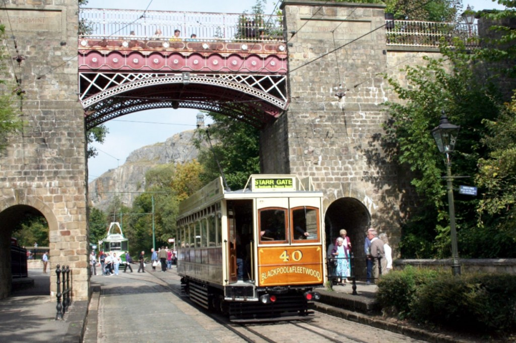 Blackpool & Fleetwood 40 visited Crich for the event during this visit and we see it heading under Bowes Lyon Bridge.