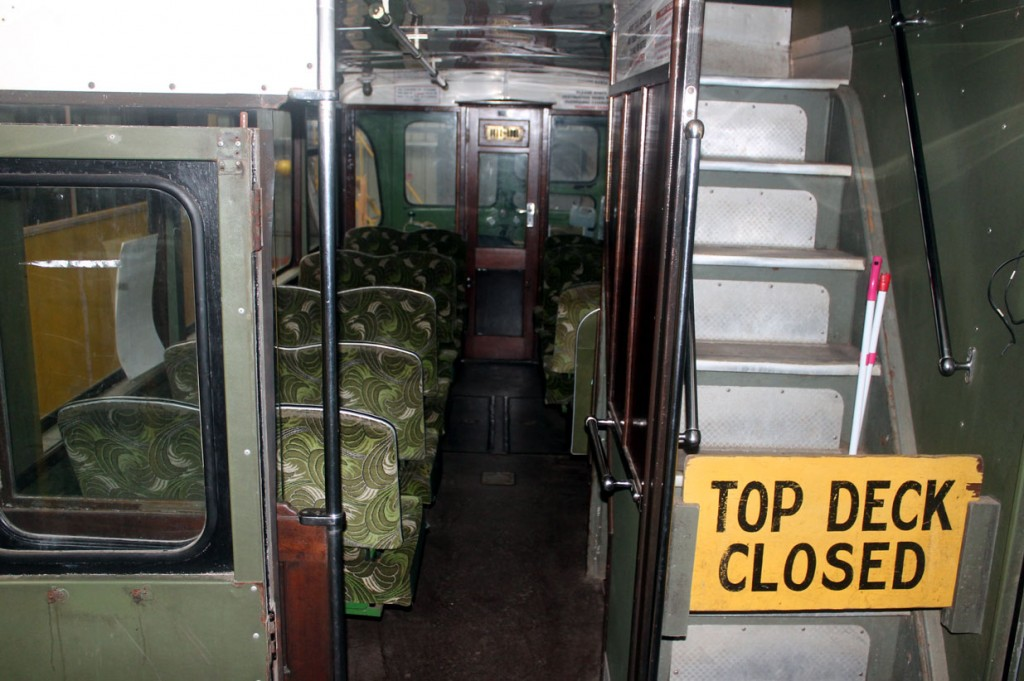 The interior of 721. The Top Deck Closed signs in place so no-one can go upstairs.