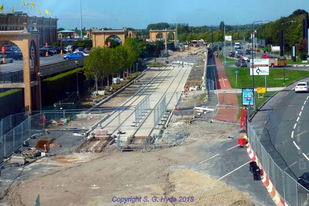 Again from the footbridge looking west along the approaches to the Trafford Centre stop with the approach tracks in place and further along in the background the start of the stop itself. (All Photographs by Steve Hyde)