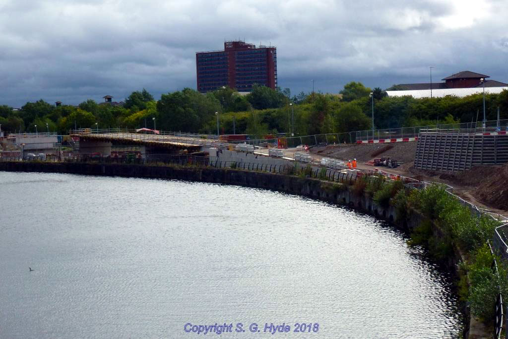 A wide view of the ramp down from Pomona Trafford wharf taken from Trafford Road showing the extent of the bridge works so far. A further road closure is booked for 29/30th of September to install the remaining sections.