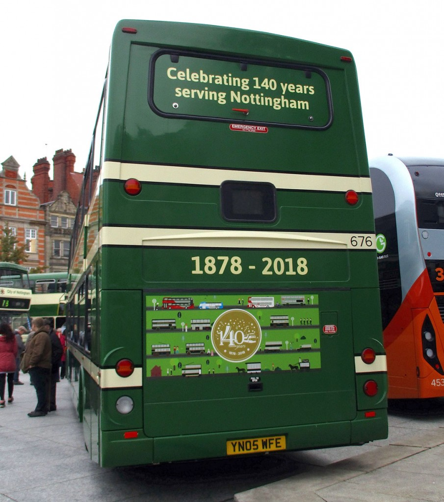 The back end of bus 676 in Old Market Square. This shows the graphics of transport through the years including a horse tram and electric tram. (All Photographs by Hazel Quarmby)