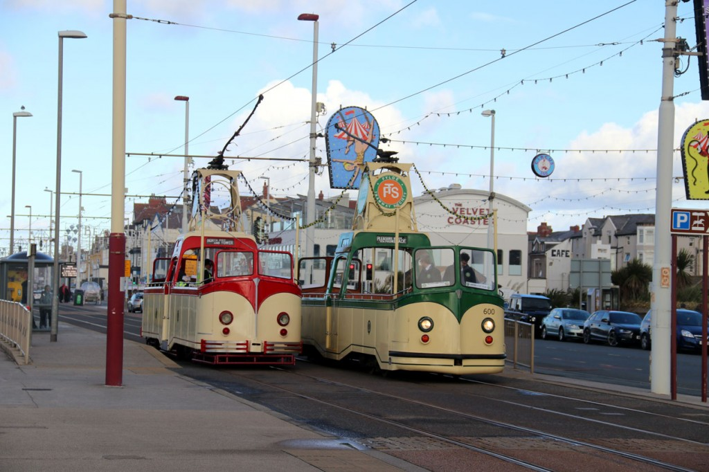 A sight much missed from Blackpool in 2018 - two Boat Cars passing on the Prom. On 26th October for the first time since 2016 there were two Boats in public service and here we see 227 heading to North Pier/Tower as 600 arrives at Pleasure Beach.