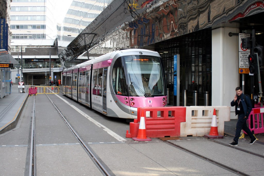An image showing the scene from the other end of the stop with further barriers in place preventing any trams from progressing any further along Stephenson Street.