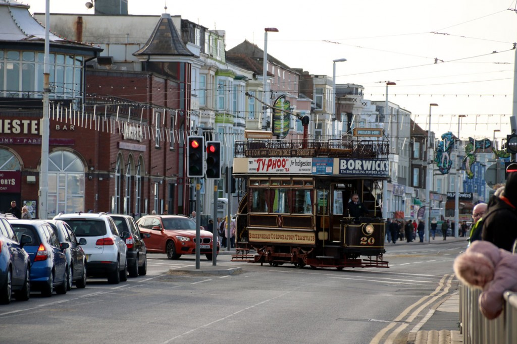 A day later on 27th October and the first day of pre-advertised premium priced tours on Birkenhead 20 took place. In this view we see 20 crossing the Prom road to enter service.