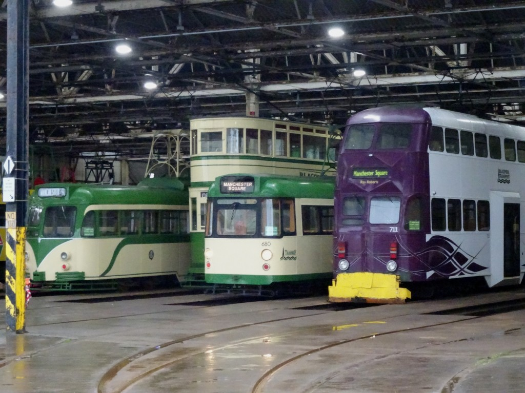 A line-up of trams at the front of Rigby Road depot in late December, with the snowplough-fitted 711 joined by Brush 621, Railcoach 680 and Standard 147. (Photo by Harold Hull)
