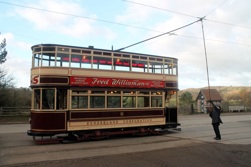 The trolley is turned on Sunderland 16 at Pockerley.