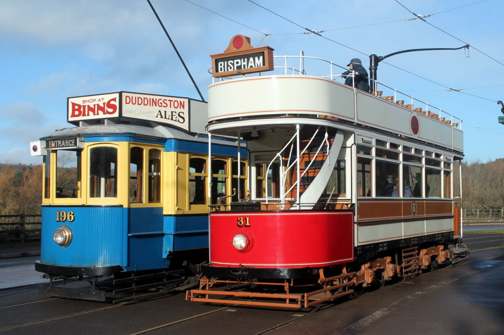 Then around the other side of the tramway circuit we see the two trams passing again.