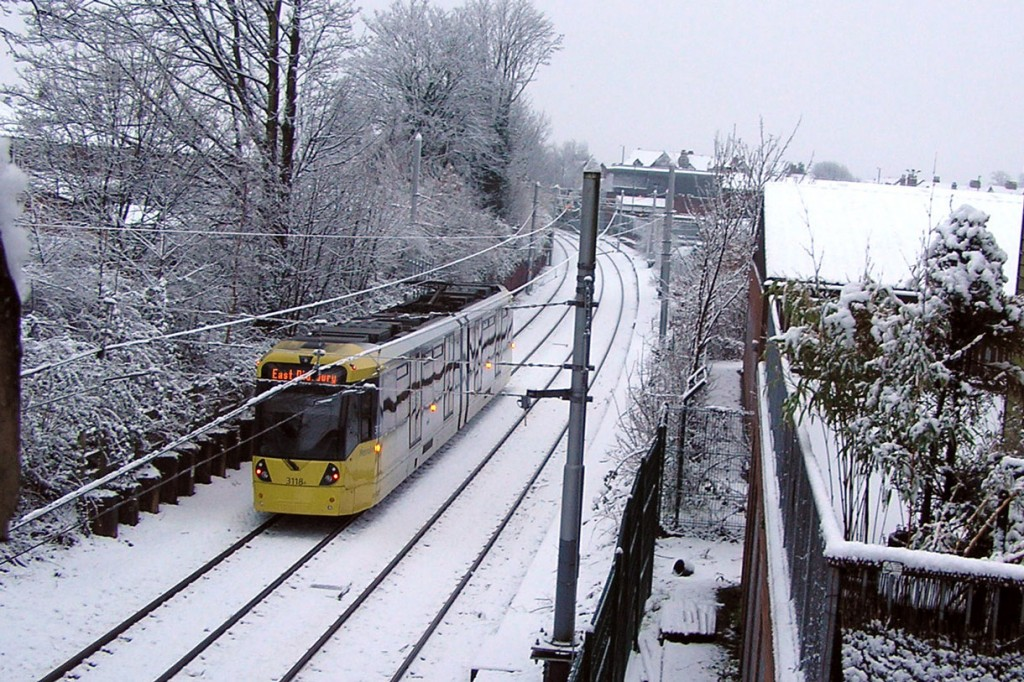 Another snowy image close to Chorlton as 3118 is captured heading away from the camera – and towards the stop – bound for East Didsbury. (Both Photographs by Keith Chadbourne, 30th January 2019)