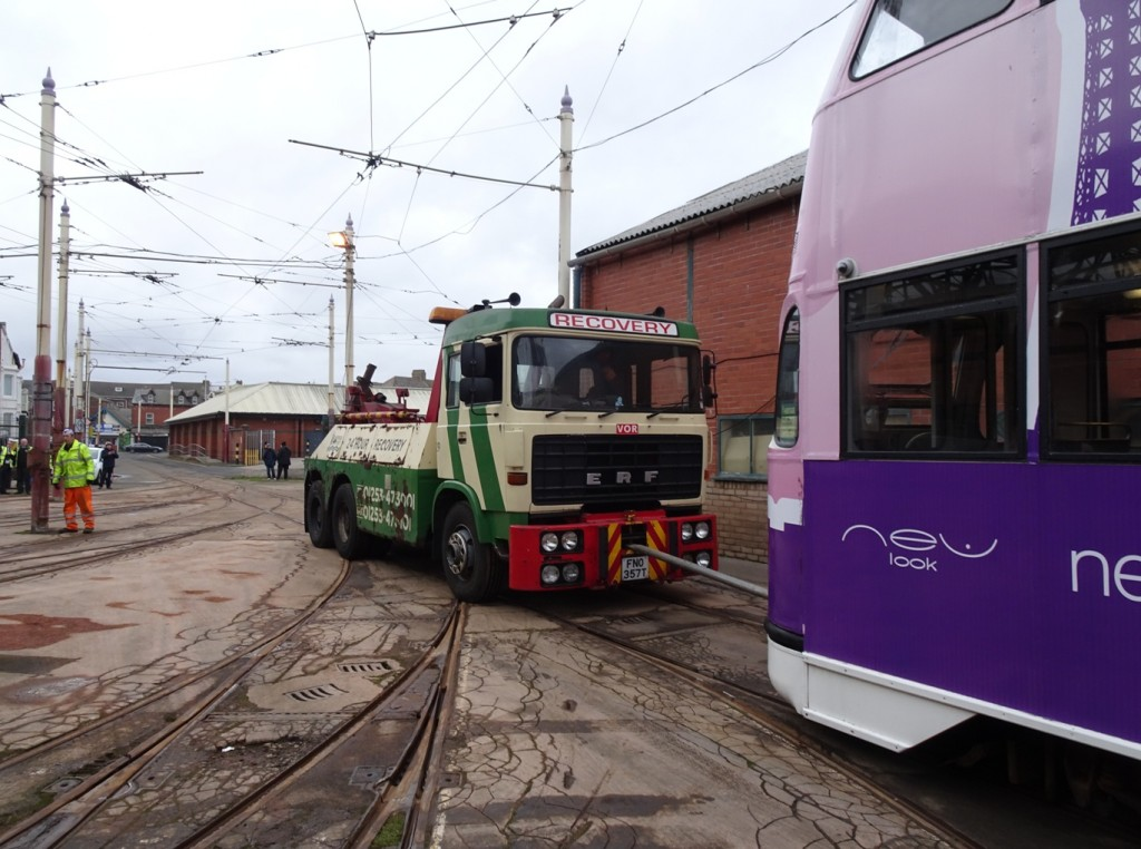 The breakdown truck propells 713 across the depot fan during its special enthusiast tour on 26th January.