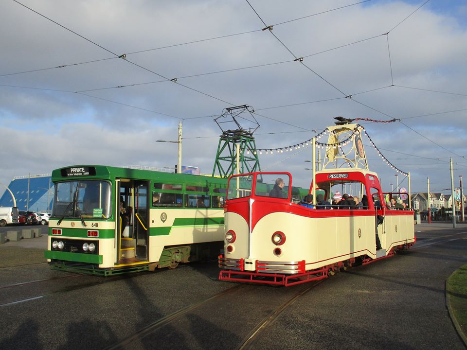 In remarkably sunny conditions for a December day, 648 and 227 pose for the cameras at Pleasure Beach during their Christmas outing.