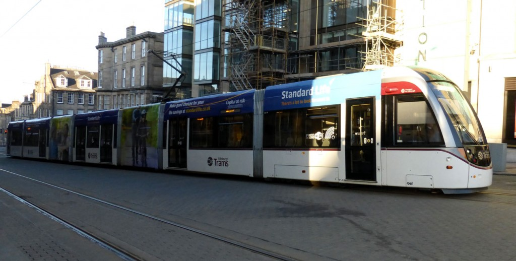 The full tram seen at St Andrew Square.