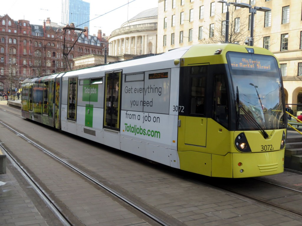 And the other plainer end of the design as the tram departs St Peter's Square for Victoria. (Both Photographs by Dave Elison, 21st February 2019)