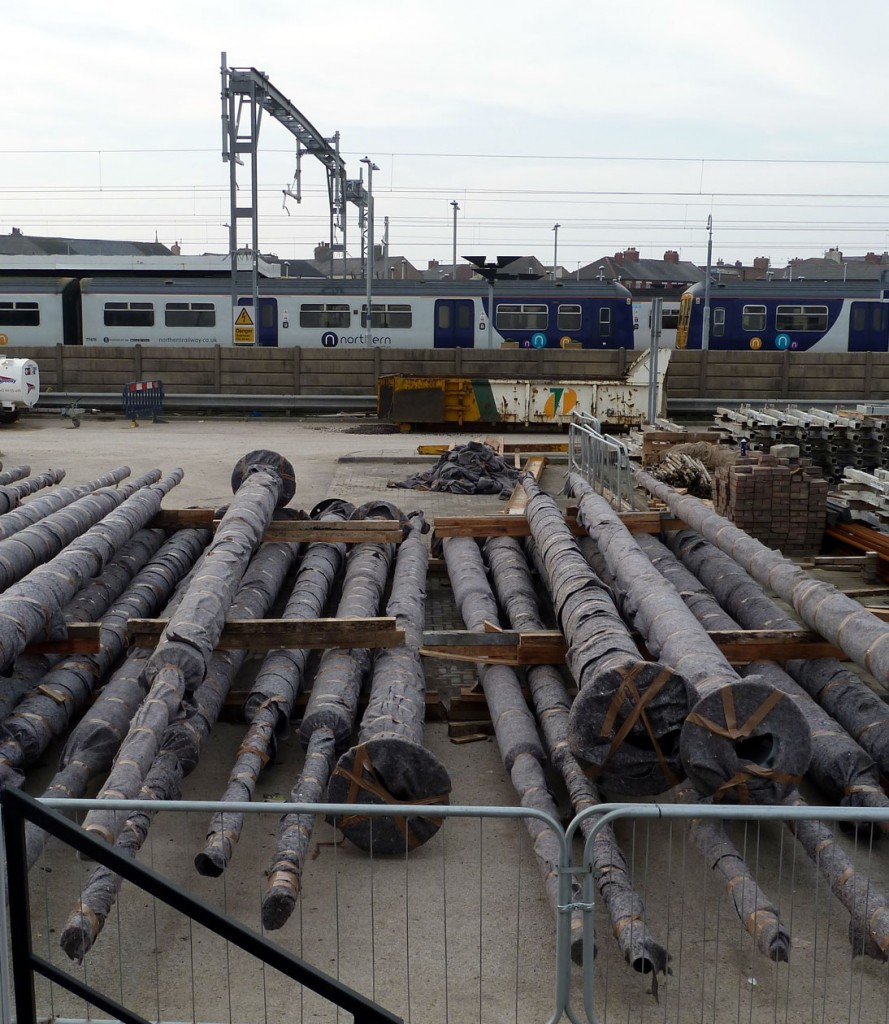 More tram poles wait until they are needed for installation along Talbot Road.