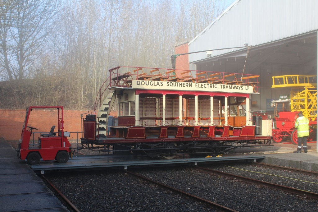 Douglas 1 is pulled onto the traverser into an odd mix of sunshine and fog, before being stabled on the track behind the Exhibition Hall.