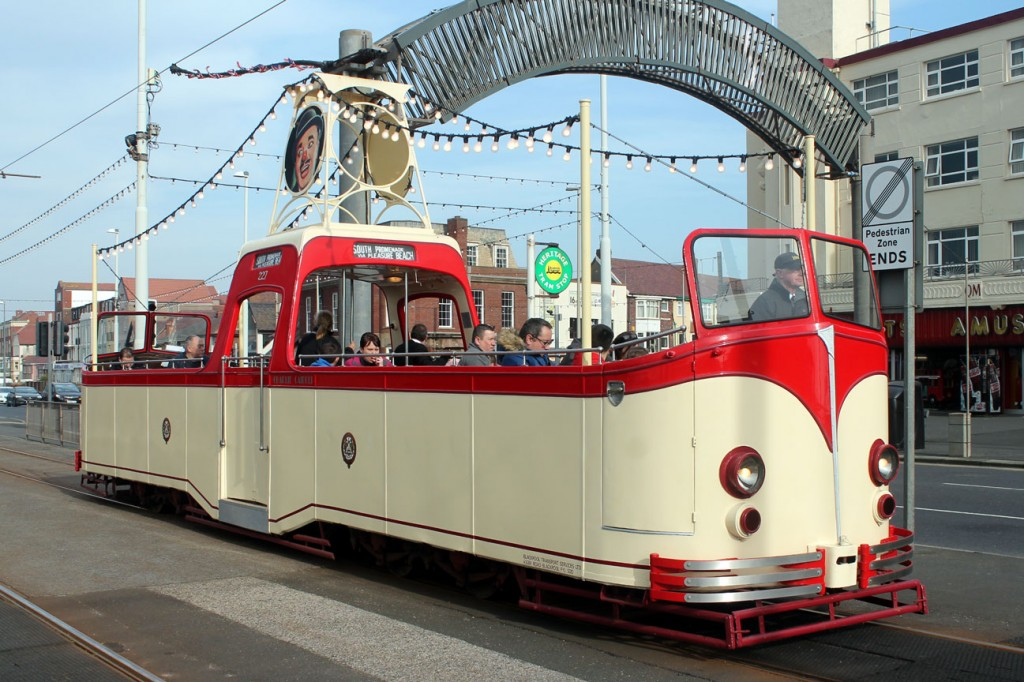 Just what Saturdays in February are made for – open trams! Boat 227 at Bispham.