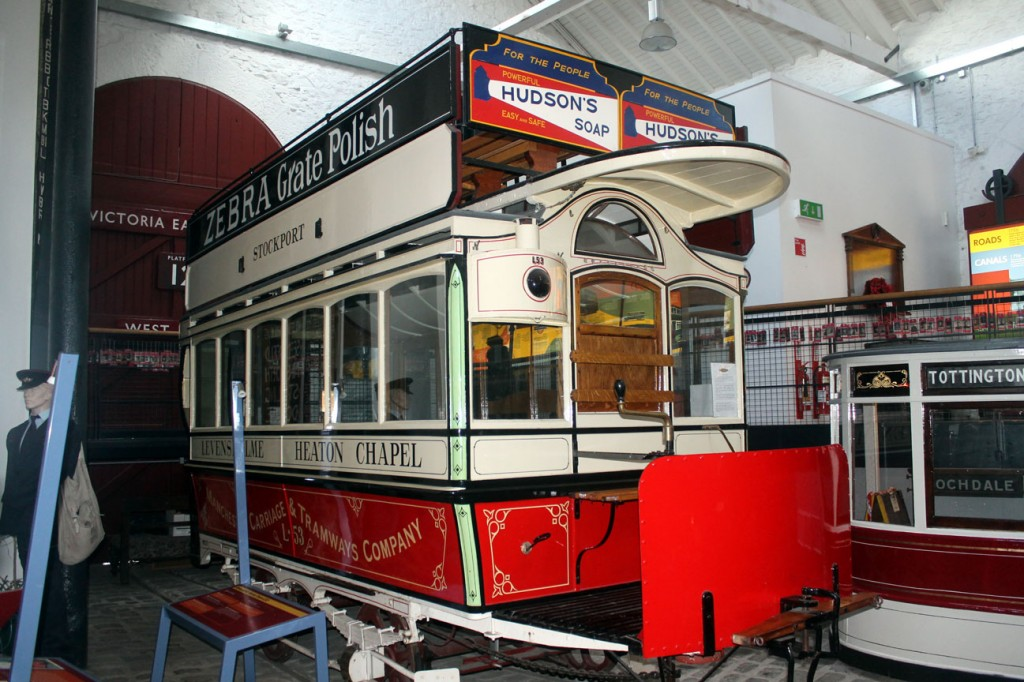 L53 has now been on loan at Bury since 2010 – although shortly after arrival there did head off to Beamish for a second short spell of operation on the tramway, which is its last use at the current time – but was restored to operational condition back in 2008 becoming the only Eades Reversible Horse Car to be operational. This meant that a horse didn't have to be unhitched at each end of a route with the body being able to be turned by the horse. We see L53 here on display at Bury.