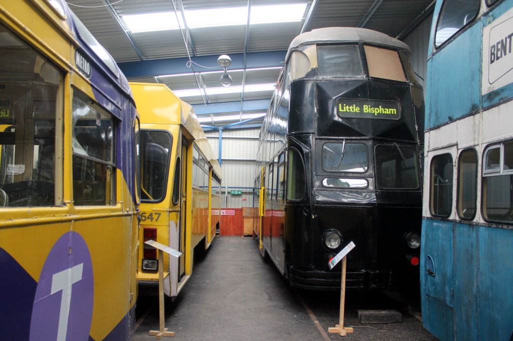 At the back of the shed and two more Blackpool trams are seen: Centenary 647 and Balloon 721. Both these trams were part of projects to repaint them from the remnants of their advertising liveries but neither seem to have progressed in recent times.