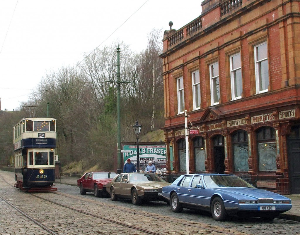 The third tram in service was Leeds 345 which is seen passing The Red Lion and more of the cars.