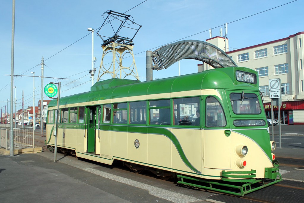 Sparkling in the sunshine at Bispham is Brush 621. The tram is off to Little Bispham.