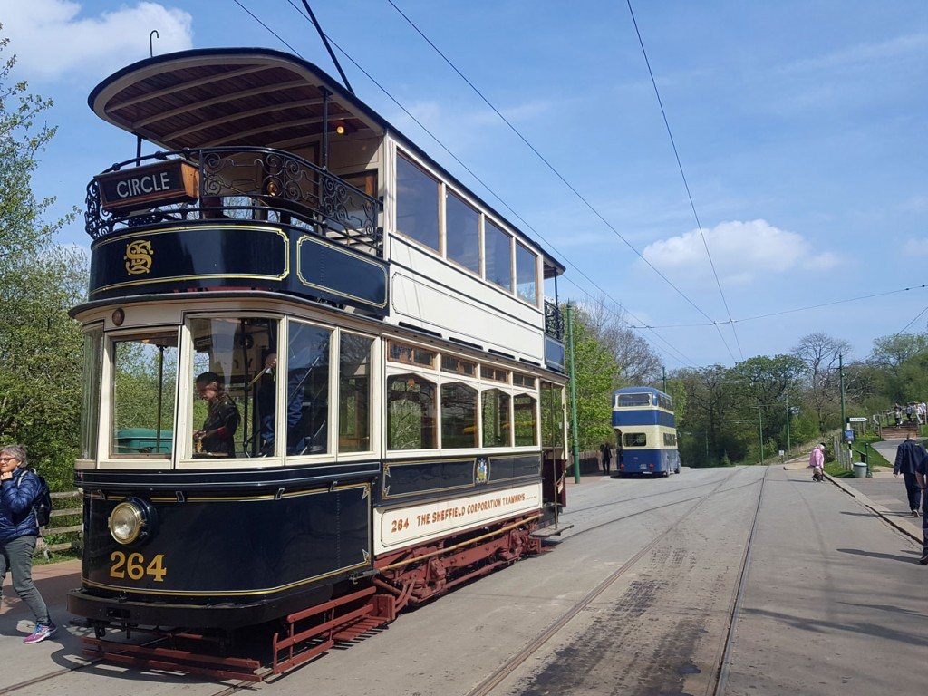 The second day of service for Sheffield 264 was on 30th April when it was running on the anti-clockwise circuit. This view shows passengers disembarking from the tram at the Entrance.