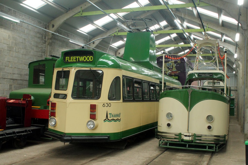 Meanwhile inside the depots and a considerable Blackpool feel to this shot with Brush Railcoach 630 alongside Boat 236; the latter tram which doesn't seem to have been used in service yet during 2019. To complete the Blackpool theme we also see the Blackpool Electric Locomotive, Jubilee 762 and Pantograph 167. (All Photographs by Trevor Hall, 27th April 2019)