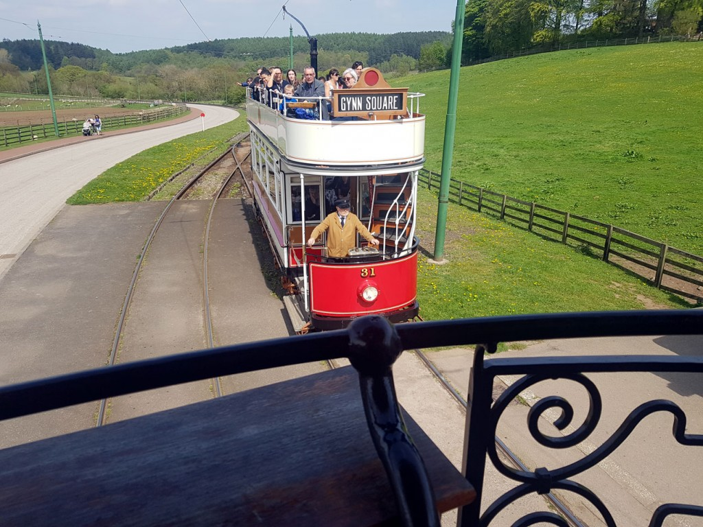 The other tram in service on this day was Blackpool 31 which is seen here from the balcony of 264 working on the clockwise circuit at Pockerley.