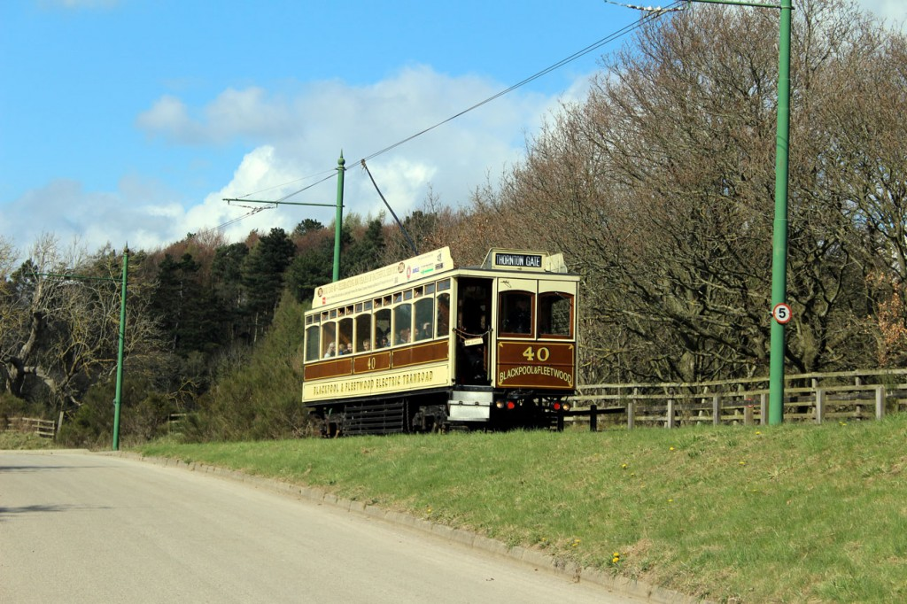 Also taken on 12th April we see the other visiting tram, Blackpool & Fleetwood 40, heading between the Town and Pockerley with another clockwise circuit.