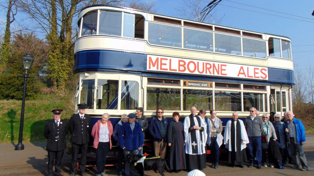 The tram crew and guests at the reception pose in front of Leeds 345. (Both Photographs courtesy of Crich Tramway Village)